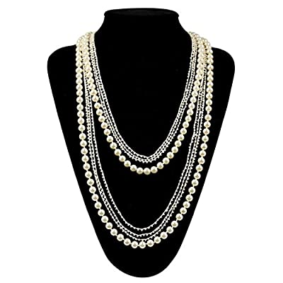 Flapper Girl Vintage 1920s Gatsby Multi-layer Imitation Pearl Choker Necklace 59''