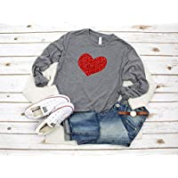 Glitter Heart Women's Valentine's Day Shirt Holiday Top Red Heart Cute V-Day Outfit Longsleeve