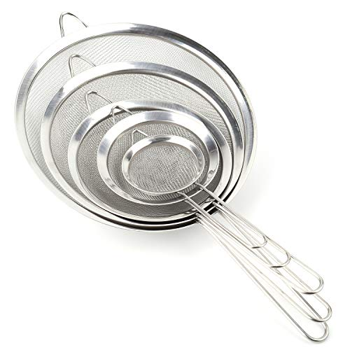 Tosnail 5 Pieces Assorted Stainless Steel Fine Mesh Strainer Colander Sieve Sifter with Long Handle ()