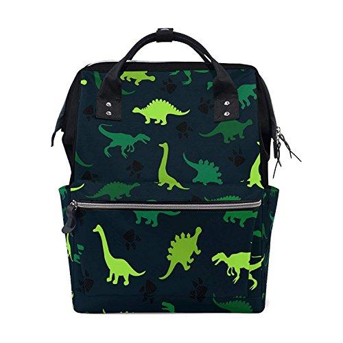 Backpack Diaper Bag Green Animal Dinosaur Womens Travel Bag Mens Laptop Bags