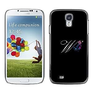 [Neutron-Star] Snap-on Series Teléfono Carcasa Funda Case Caso para Samsung Galaxy S4 [Negro Iniciales de la letra de la caligrafía del texto]