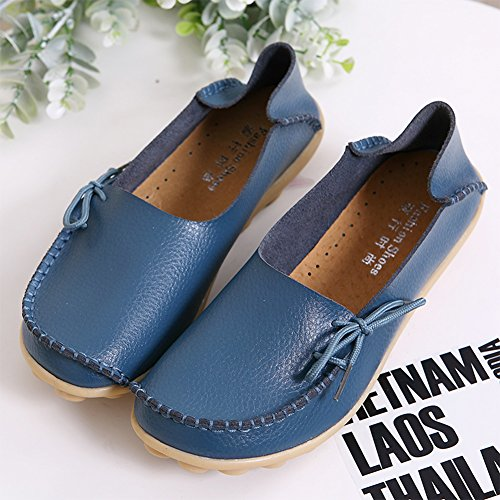 RT Indoor Leather Slippers Group Flat nbsp;Moccasins Casual Breathable 1blue on Loafers Slip Shoes Women's Wild rErUZWqOvf