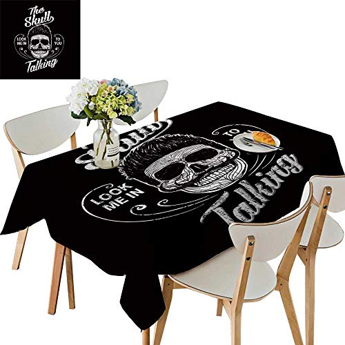 UHOO2018 Polyester Tablecloth Skull a Mark The d ger warn t Shirt Graphics Cool Skull Square/Rectangle Spillproof Tablecloth,52 x 754inch