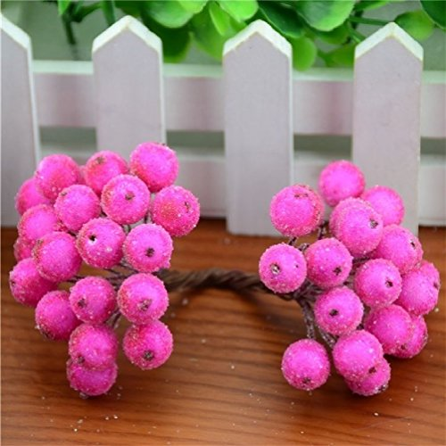 200Pcs/400Head Mini Fake Fruit Glass Berries Artificial Pomegranate Red Cherry Bouquet Stamen Christmas Decorative Double Heads by Suyunyuan Flowers
