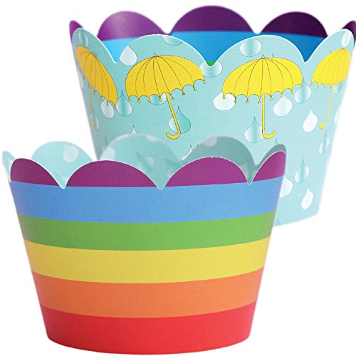 Rainbow Cupcake Wrappers, Umbrella Baby Shower Theme, Confetti Couture Party Supplies, 36 Wraps