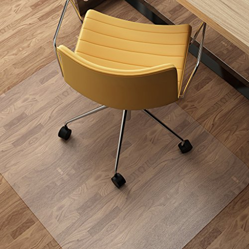 "SLYPNOS 48"" x 36"" Chair Mat for Hard Floors, Transparent Hard Floor Protector with Non-Studded Bottom, BPA and Phthalate Free, for Home Office Study, Rectangular"