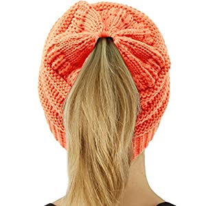 51f8b1aa06d CC Kids Girls Beanietail Messy Bun Ponytail Stretch Knit Beanie Hat ...