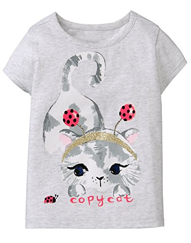 Gymboree Girls' Toddler Short Sleeve Glitter Animal Graphic TEE, Copy cat, 3T