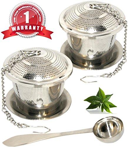Loose Leaf Tea Infuser Set of 2 (M Sizes) + Drip Trays and Tea Scoop, [One Year Warranty], Food Grade 304 Stainless Steel Strainer & Steeper can be used as Tea/Herbal/Spice Filter for Cup, Mug, Teapot