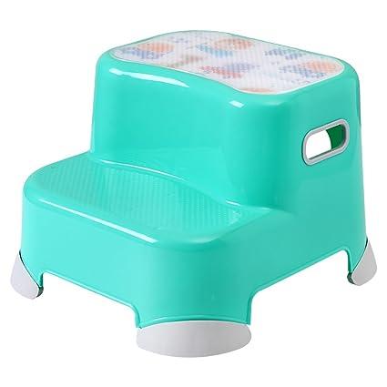 Wssf sgabello in plastica verde con gradini per bambini