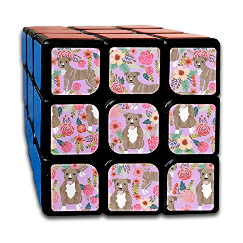 (Pitbull Brindle Purple Dog Breed Florals Customized Speed Cube 3x3 Smooth Magic Cube Puzzle Game Brain Training Game for Adults Kids)