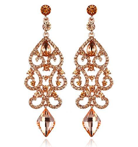 - Janefashions Large Sexy Austrian Crystal Rhinestone Chandelier Dangle Earrings Bridal E2084 3 Colors (Peach/Rose Gold)