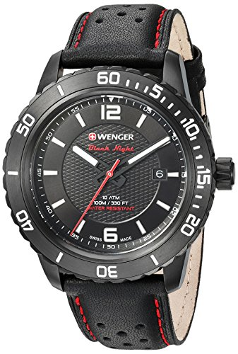 Wenger Men's Roadster Stainless Steel Swiss-Quartz Watch with Leather Calfskin Strap, Black, 21 (Model: 01.0851.123)