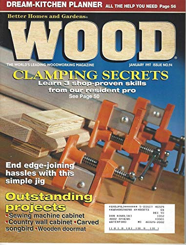 Wood Magazine #94 January 1997 Country Wall Cabinet, Carved Songbird