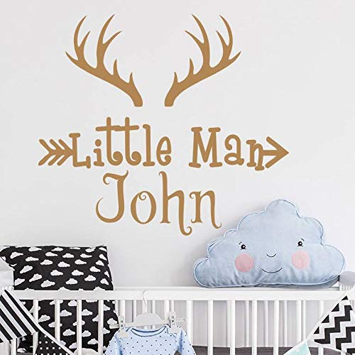 Personalized Name Deer Horns Wall Decal Deer Antler Vinyl Wall Sticker Hunting Themed Woodland Nursery Wall Decoration b2 64x57cm (Call Of Duty Modern Warfare 2 Tips)
