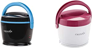 Crock-Pot SCCPLC200-BK-SHP Slow Cooker, Small, Black & SCCPLC200PK-NP Lunch Crock Food Warmer, Pink, 20oz