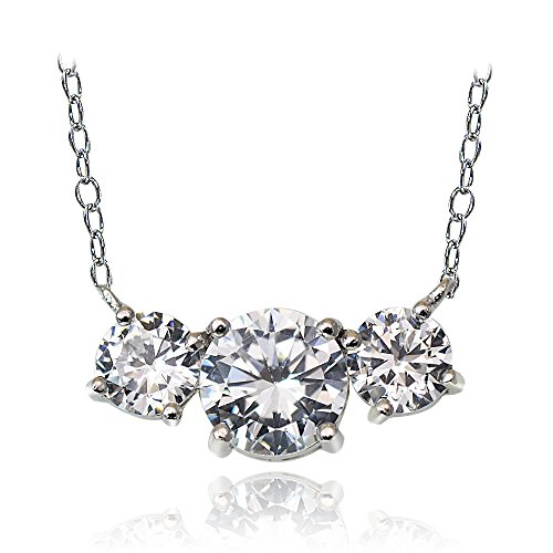 Sterling Silver 2.5ct Cubic Zirconia Three Stone Necklace