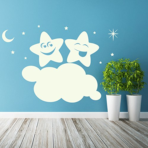 ( 55'' x 37'' ) Glowing Vinyl Wall Decal Twin Stars on Cloud / Glow in the Dark Sticker / Happy Star Luminescent Mural Kids, Baby Room + Free Decal Gift!