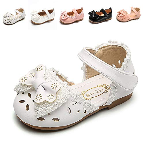 Sawimlgy US Girls Leather Sandals Mary Jane Flat Shoes Laces Bow Soft Round Toe Princess Dress (Toddler/Little Kid)]()