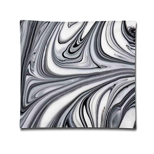 Omgaa Mix of White and Black Hallucinatory Surreal Liquid Marble Figures Graphic Home Decorative Throw Pillow Cover for Men Women Girls Boys Kids Children-18 X 18 Inch