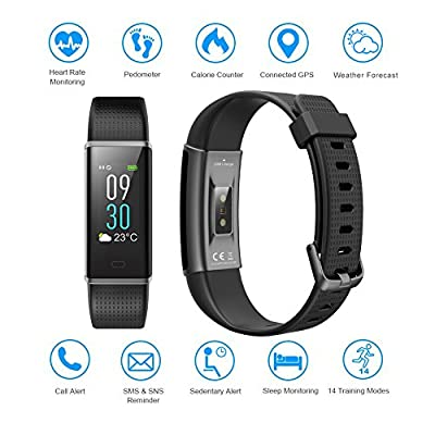 Semaco Fitness Tracker, Color Screen Heart Rate Monitor Waterproof Smart Activity Tracker Sleep Weather Step Calories Pedometer Sport Watch Wristband for Android & iOS(Black)