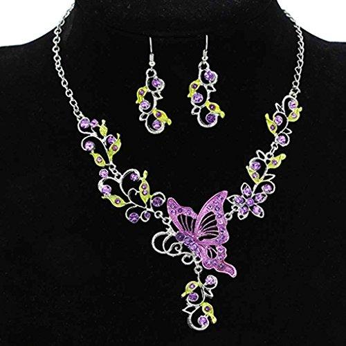 Bobury Women Ladies Butterfly Flower Rhinestone Pendant Bib Statement Necklace Earrings Jewelry (Butterfly Purple Pendant)