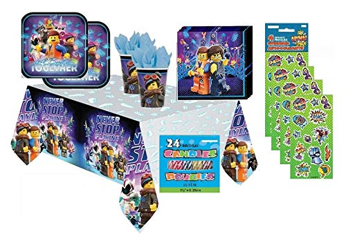 The Lego Movie 2 Birthday Party Supplies Bundle Set for 16 includes Lunch Plates, Lunch Napkins, Cups, Table Cover, Candles, Stickers