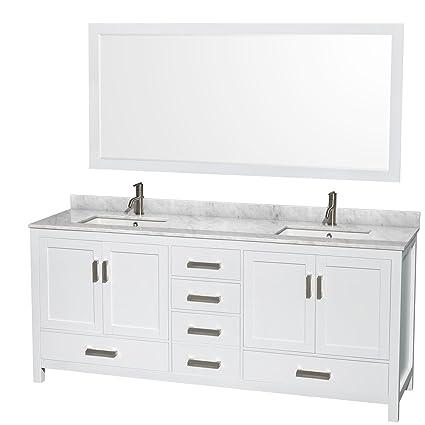wyndham collection sheffield 80 inch double bathroom vanity in white rh amazon com 80 inch bathroom vanity with quartz top 80 inch bathroom vanity mirror