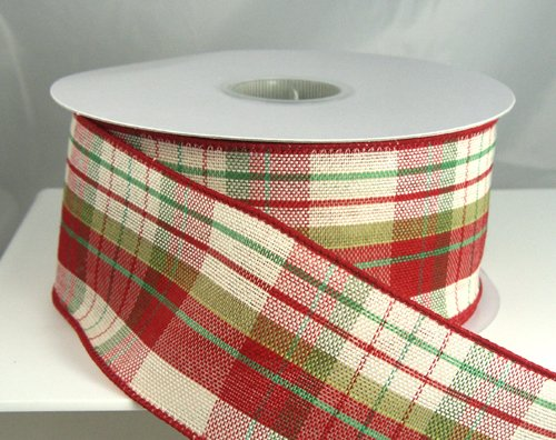 amazoncom plaid avery red green and tan striped christmas ribbon 40 2 12 20 yards