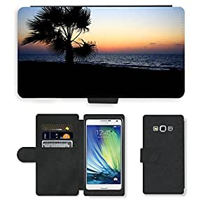 PU Cuir Flip Etui Portefeuille Coque Case Cover véritable Leather Housse Couvrir Couverture Fermeture Magnetique Silicone Support Carte Slots Protection Shell // M00155826 Fondo de la playa hermosa costa // Samsung Galaxy A7 (not fit S7)