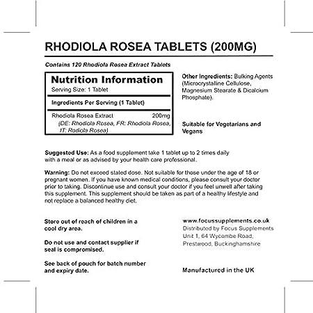 Rhodiola Rosea 200 mg Comprimidos de Focus Supplements- Fuente de Alta Calidad de Rosavin y Salidrosida | PÉRDIDA DE PESO Y AUMENTO DE ENERGÍA | Fabricado ...