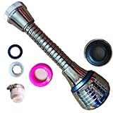 Faucet Aerator 360 °Flexible Sprayer ABS Polished Chrome For Kitchen Sink Cold Water (Sliver)