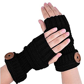 KingWo Winter Gloves Women Solid Color Knitted Warm
