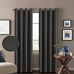 H.VERSAILTEX Decorative White Linen Pair Curtains Thermal Insulated Room Darkening Window Treatment Panels Bedroom/Living Room Ultra Primitive Grommet Drapes, W52 x L96-Inch - Pure White
