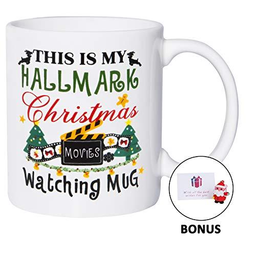 Christmas Gifts Coffee Mug | This Is My Hallmark Christmas Movies Watching Mug, Funny Christmas Mug Coffee Cups Gift for Family & Friends, bonus A Keychain Pendant & Greeting Card, 11 oz