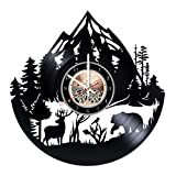 Mountain Animals Wildlife HANDMADE Vinyl Record Wall Clock - Get unique bedroom or living room wall decor - Gift ideas for him and her