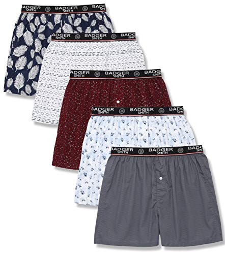 (Badger Smith Men's 5 - Pack and 3 - Pack Cotton Print Multicolor Boxer Shorts (M, Multi Pack of 5))