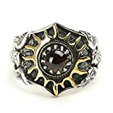 Beydodo Mens Silver Ring, Sun and Eagle Ring Red Gemstone Size 10.5 Mens Rings Hip Hop