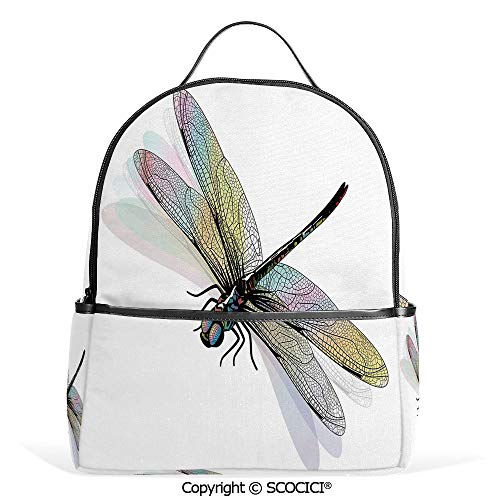 Casual Fashion Backpack Shady Dragonfly Pattern with Ornate Lace Style Spiritual Beauty Wings Design Decorative,Multicolor,Mini Daypack for Women & Girls ()