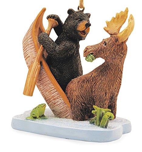 Moose and Bear in Canoe Tippecanoe Christmas Tree Decoration Holiday (Bear Tree Decoration)