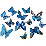Set 12pcs 3d Blue Butterfly Wall Stickers Decoration