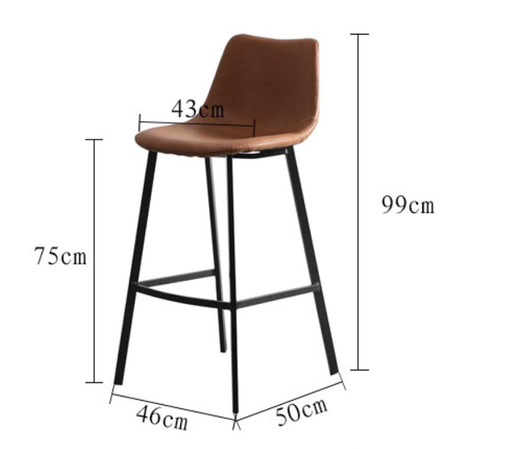 AO-stools Nordic Leisure High Stool Cafe Back Metal Bar Chair Home Restaurant Dining Chair 99x75x43cm by AO (Image #2)