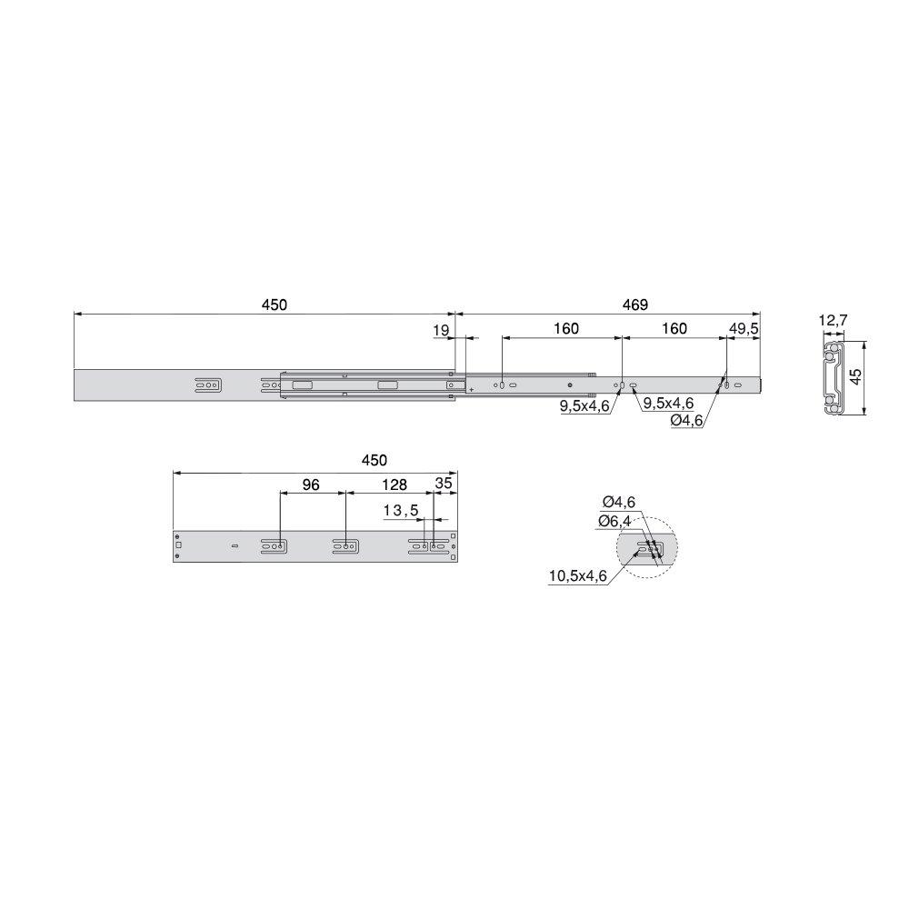 pack de 1 juego de gu/ías de extracci/ón total con cierre suave Emuca Gu/ías laterales para cajones con rodamiento de bolas 45mm x 350mm