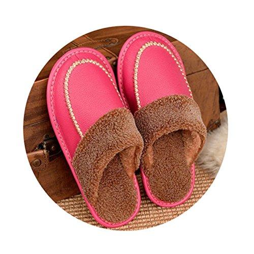 TELLW Winter Kuh Lint Pantoffeln M?nner und Frauen nach Hause rutschfeste warme Indoor Holzfu?boden Leder Hausschuhe 9WkJxwQ