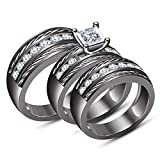 TVS-JEWELS Wedding Trio Ring Set Black Rhodium Plated 925 Sterling Silver Luxury Simulated Diamond