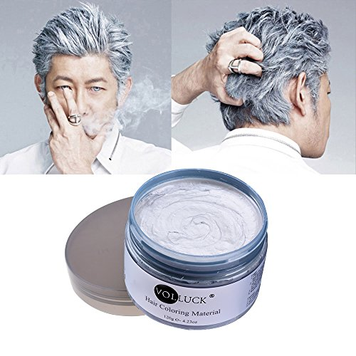 VOLLUCK Silver Grey Hair Wax Pomades 4.23 oz - Natural Hair Coloring Wax Material Disposable Hair Styling Clays Ash for Cosplay,Hallowee,Party (Silver Grey) -