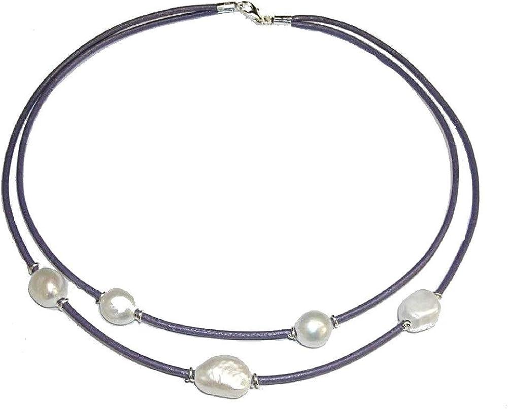 Collar de Perlas Cultivadas barrocas. Cuero Natural Color Lavanda y Plata de Ley. Envoltorio de Regalo