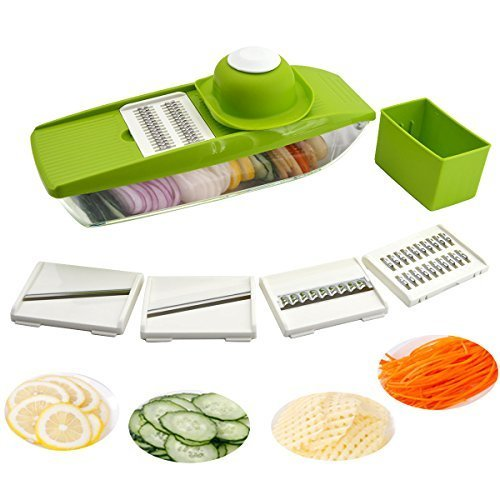 5 in 1 Mandolin Slicer - Cutting or Slicing Vegetables Fruit Quickly - Best Vegetable Cutter Slicer with 5 Different Quality Stainless Steel Blades, Straight & Julienne-Vegetable Slicer iParaAiluRy ELECSA40549