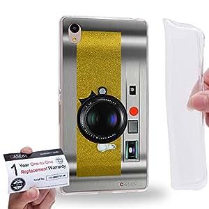 Case88 [Sony Xperia Z3+ / Z4] Gel TPU Carcasa/Funda & Tarjeta de garantía - Art Drawing Yellow Retro Old Style Camera 1888