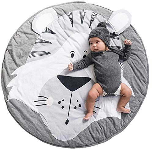Abreeze Tiger Baby Round Play Pad Crawling Mat Crawl Cushion Air-Conditioned Rug for Kids Children Toddlers Bedroom